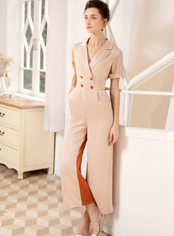 Color-blocked Splicing Double-breasted Jumpsuit