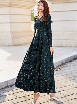 Chiffon V-neck High Waist Holiday Maxi Dress