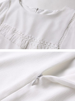 Brief Pure Color Tassel Irregular Sheath Dress