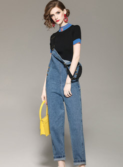 Chic Color-blocked Sweater & Casual Denim Overalls