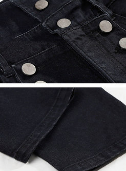 Black High Waist Double-breasted Slim Skinny Jeans