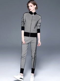 Striped Color-blocked Patchwork Knitted Pant Suits