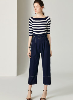 Stylish Striped Knitted Top & High Waist Wide Leg Pants