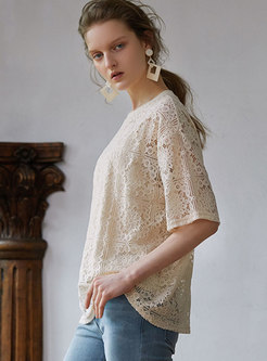 Lace Hollow Out O-neck Loose Summer T-shirt