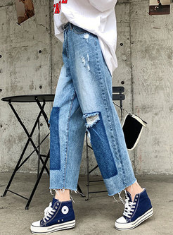 Casual Loose Color-blocked Hole Jeans