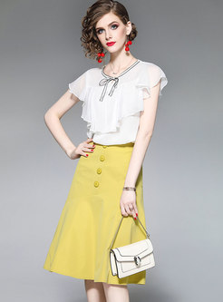 Solid Color Falbala Chiffon Blouse & Yellow Mermaid Skirt
