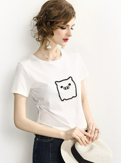Chic Pig Beaded O-neck Short Sleeve T-shirt