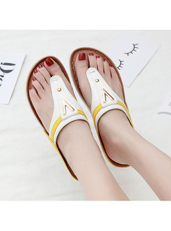 Women's Color Stitching Metal Comfortable Slippers