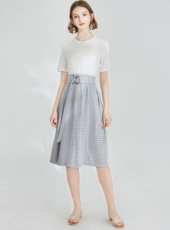 Stylish High Waist Plaid Splicing Belted A Line Skirt