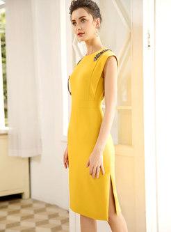 Elegant Waist Slim Beaded Split Bodycon Dress