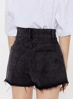 Stylish Summer Black Denim Slim Shorts