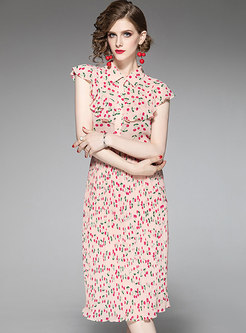 Elegant Ruffled Lapel Print Top & Pleated Sheath Skirt