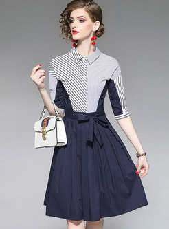 Color-blocked Striped Slit Bowknot T-shirt Dress