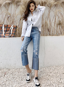 Denim High Waist Curling Hole Loose Straight Pants