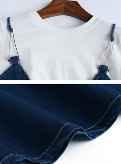 Brief White T-shirt & Denim V-neck Waist Big Hem Dress