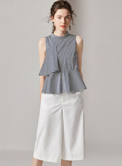 Summer Striped Sleeveless Top & Pure Color Wide Leg Pants
