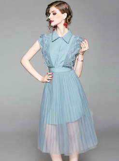 Stylish Lapel Hollow Out Top & Mesh Perspective Skirt