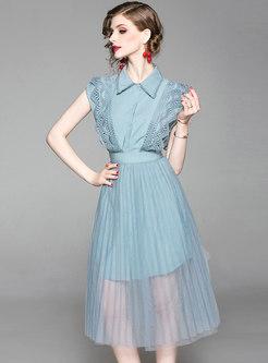Stylish Lapel Openwork Top & Mesh Perspective Skirt
