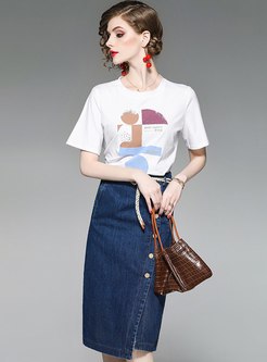 Casual Print T-shirt & Denim Split Sheath Skirt