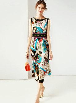 Stylish Color-blocked O-neck Sleeveless A Line Dress