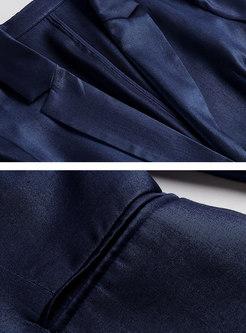 Pure Color A Buckle Slim Blazer