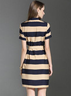 Stylish Turn-down Collar Striped Tied Bodycon Dress