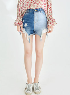 Loose High Waist Hole Irregular Denim Shorts