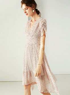 Summer V-neck Gathered Waist Silk Print Skater Dress