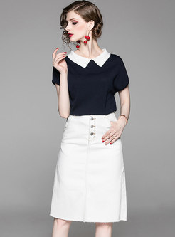Stylish Color-blocked Knitted Top & Denim Sheath Skirt