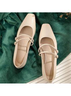 Vintage Pure Color Leather Flat-bottom Shoes