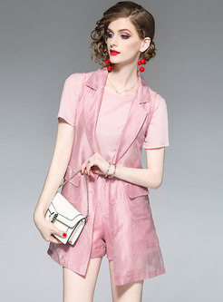 Brief Pure Color Casual Slim Matching Sets Outfits