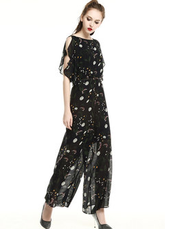 Casual Print Slash Neck Silk Summer Slim Jumpsuit