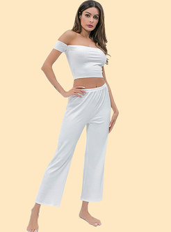 Sexy Slash Neck Pure Color High Waist Casual Tracksuit