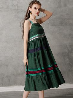 Vintage Color-blocked Splicing Backless Shift Dress
