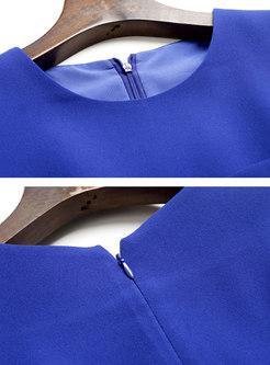 Pure Color Sleeveless High Waisted Bodycon Dress