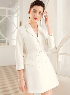 Stylish Lapel Pure Color Gathered Waist Coat Dress