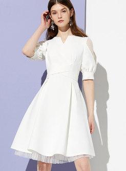 V-neck Lace Splicing Waist Skater Dress