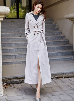 Solid Color Double Breasted Tied Trench Coat
