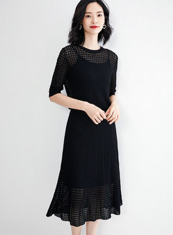 Brief Black Hollow Out Slim Knitted Two Piece Dress