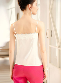 Lace Embroidered Backless All-matched Cami