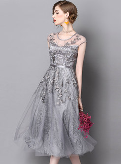 Crew Neck Mesh Embroidered A Line Bridesmaid Dress