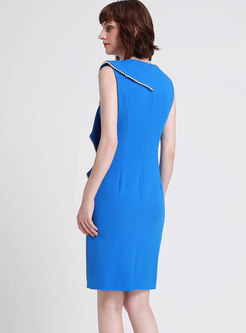 Elegant Pure Color Splicing Sleeveless Bodycon Dress
