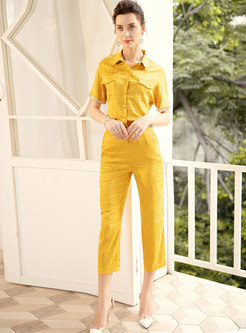 Solid Color Lapel Diamond Blouse & Casual Pencil Pants