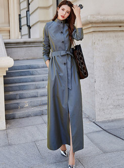 Mock Neck Tied Long Sleeve Trench Coat