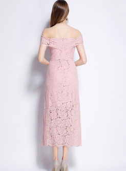 Lace Solid Color Slash Neck Sheath Long Dresses
