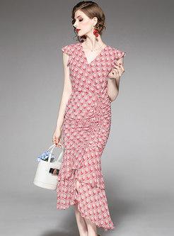 Stylish Floral Print V-neck Irregular Mermaid Dress