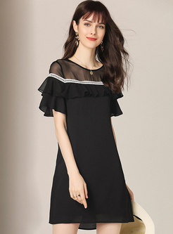 Chic See-though Splicing Falbala Chiffon Shift Dress