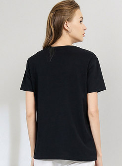 Brief Color-blocked Splicing Daily T-shirt