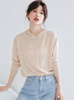 Stylish Apricot Hooded Loose Pullover Sweater