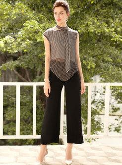 Stylish Dots Pattern Sleeveless T-shirt & Black Wide Leg Pants
